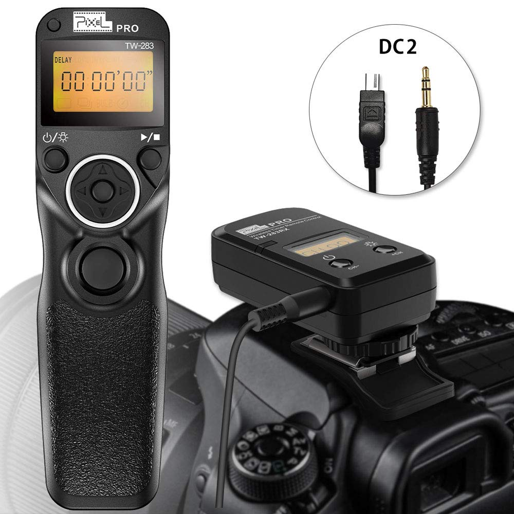 Wireless Remote Shutter for Nikon, Pixel TW-283 DC2 Wireless Shutter Release Cable Timer Remote Control for Nikon D7500 D3300 D5000 D5500 D7200 by PIXEL