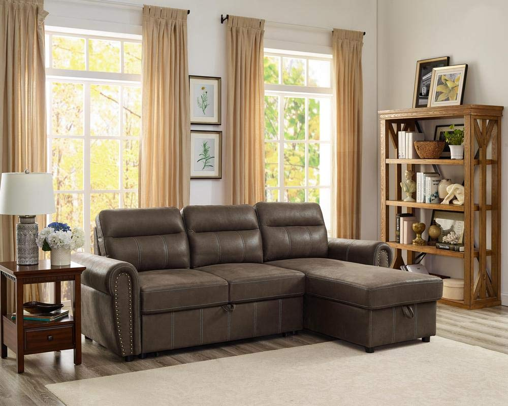 LILOLA Ashton Saddle Brown Microfiber Reversible Sleeper Sectional by Lilola Home