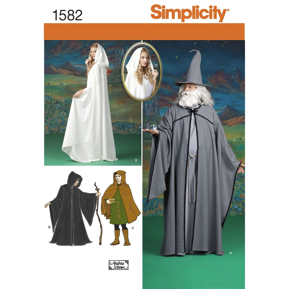 Simplicity Creative Patterns 1582 Misses, Men and Teen Costumes, A (X-Small-Small-Medium-Large-X-Large) US1582A