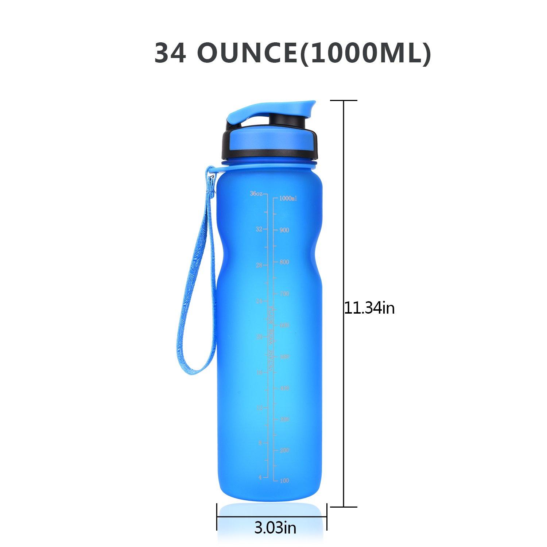 Victanz - Botella de agua deportiva de 1 litro, 1000 ml, botella grande con filtro, a prueba de fugas, se abre con un solo clic, flujo rápido, ...