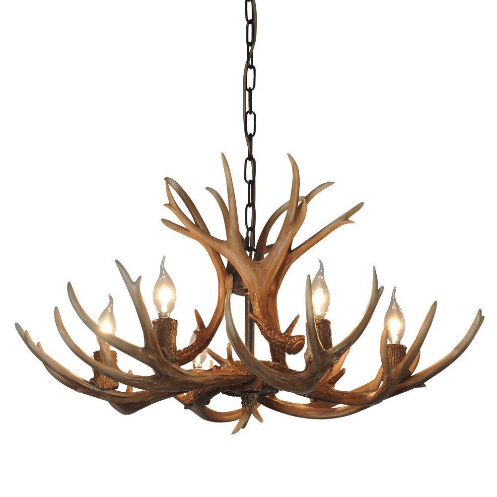 Antlers vintage style resin 6 light chandeliers 8688 6 diameter antlers vintage style resin 6 light chandeliers 8688 6 diameter 88cm height 54cm antler chandeliers from qirui lighting amazon arubaitofo Images