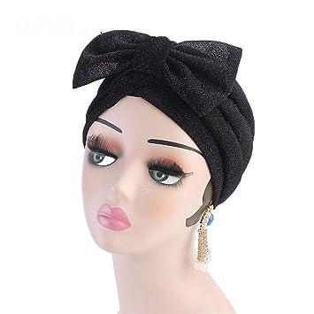 Amazon.com : Metallic Bow Turban Hijab Cap Chemo Hat Muslim Turban Bow Knot Hair Accessory For Women Black : Beauty