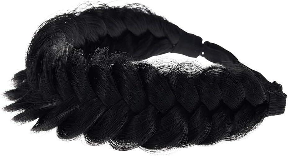 TOECWEGR Diadema trenzada clásica trenzada para el pelo con trenzas trenzadas (Negro natural A01) Talla única