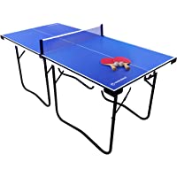 WIN.MAX Foldable Mid-Size Ping Pong Table - 6'x3' Preassembled Portable Mini Table Tennis Table with Net, 2 Paddles and 2 Balls, Easy to Store