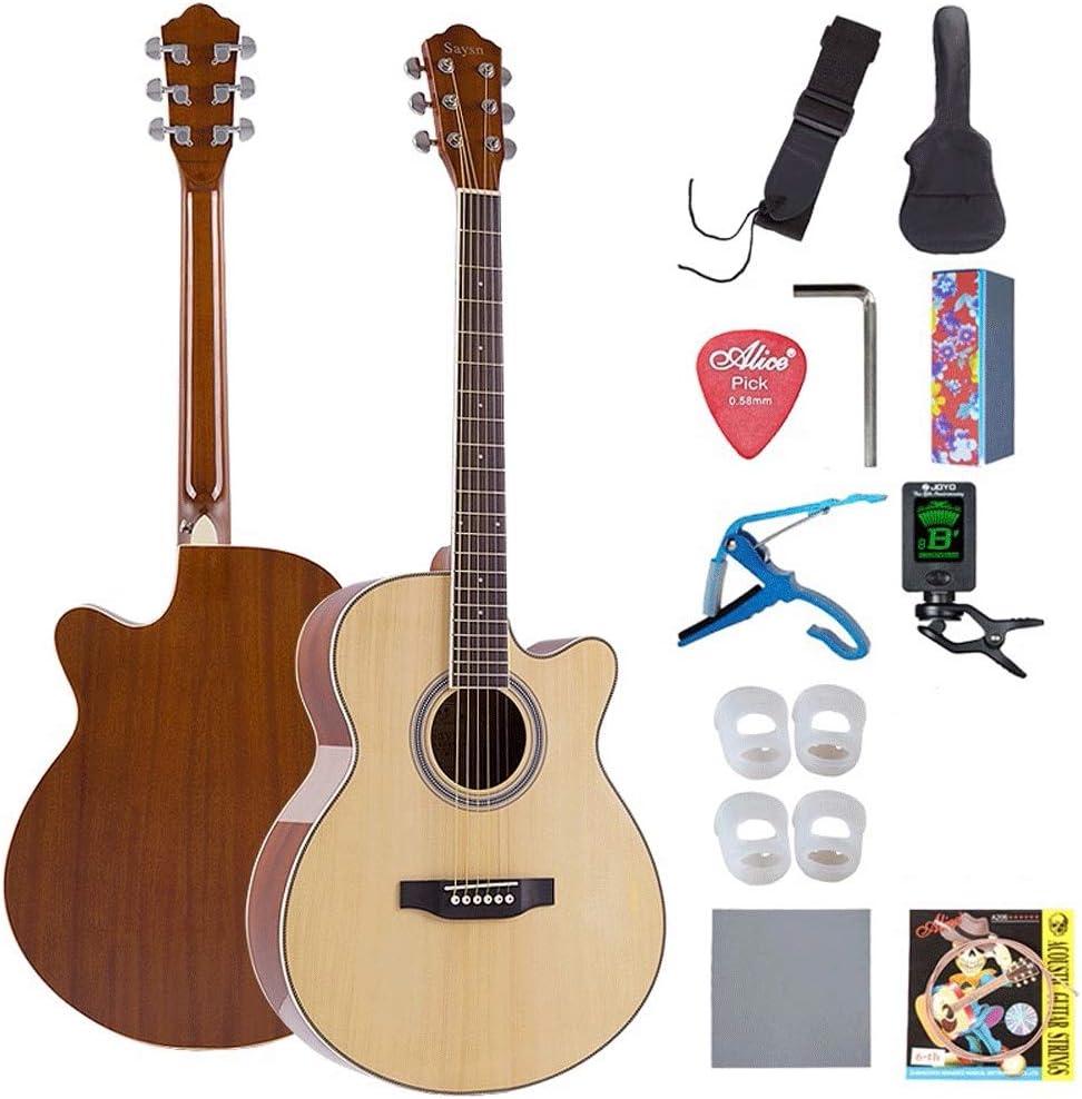 Boll-ATur Spruce Panel 41inch guitarra acústica al aire libre Rendimiento gira acústica Guitarra de palisandro Guitarra Principiante conjunto con Funda, sintonizador, picos, extra Cuerdas for principi