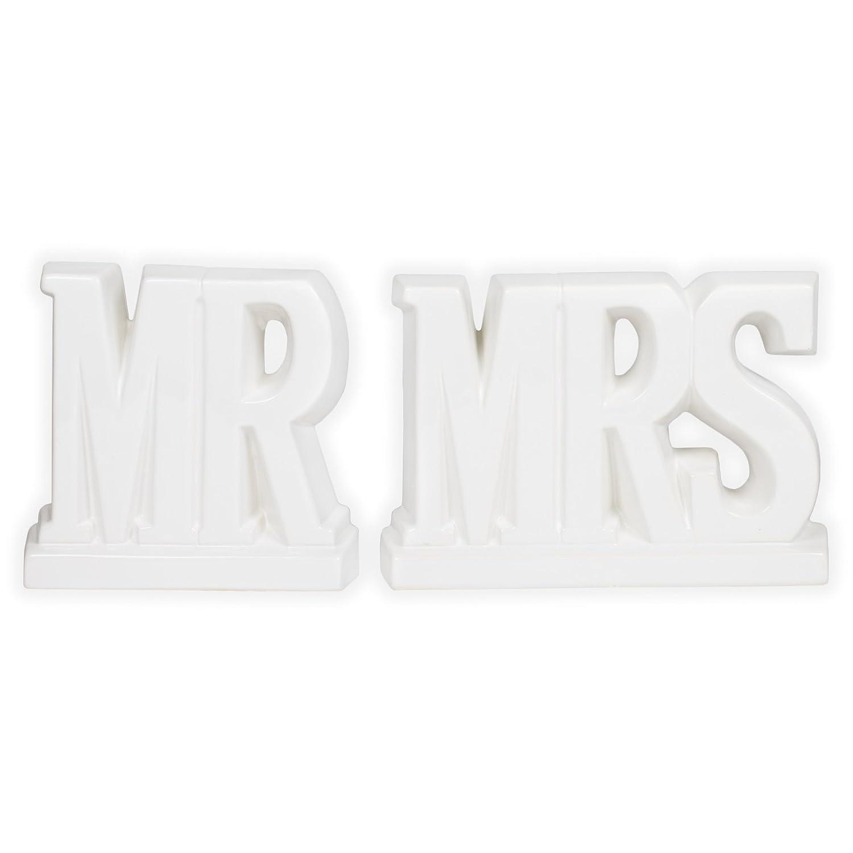Mr and Mrs White Ceramic Decorative Bookends Drew Derose