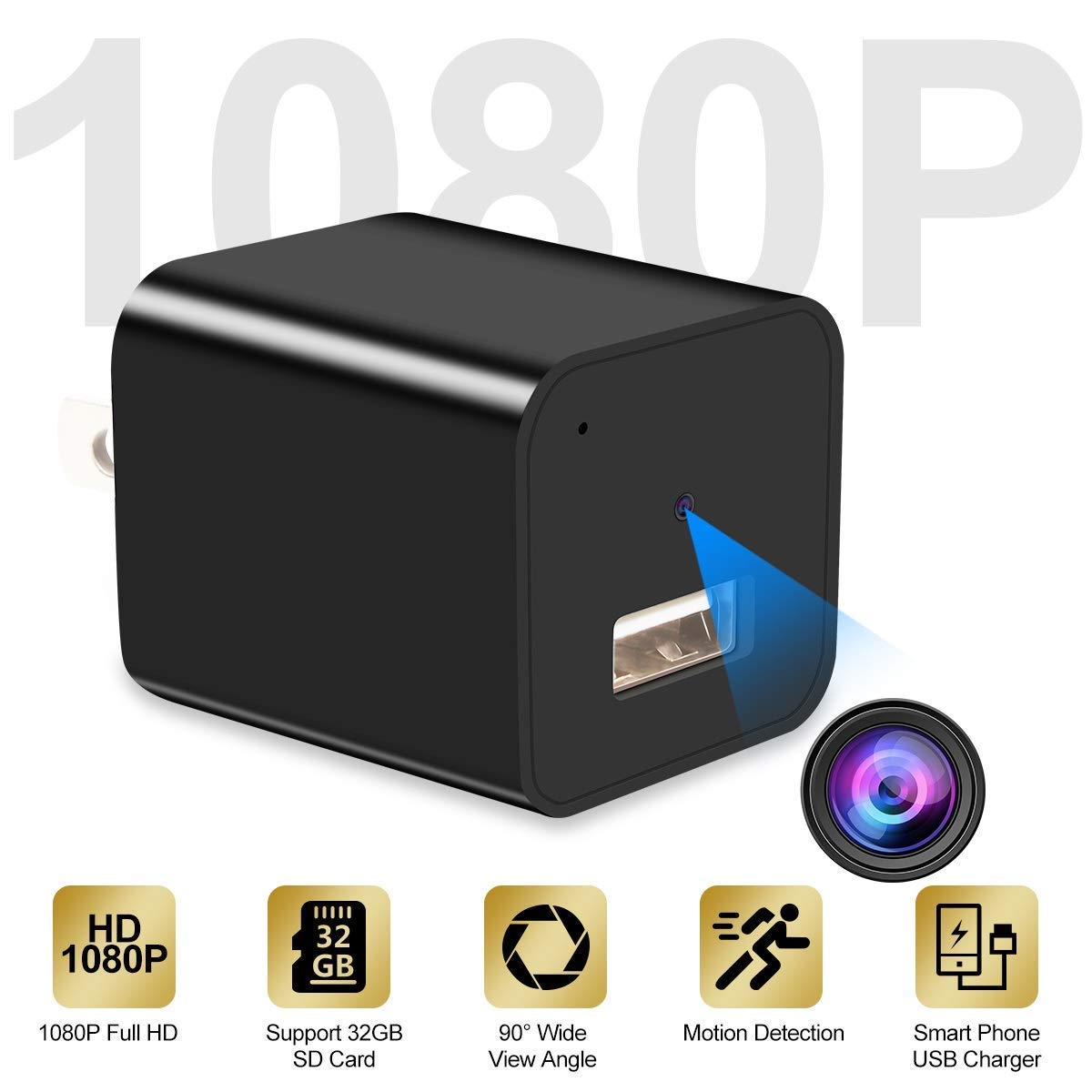 Hidden Camera, 1080P HD USB Charger Camera, Mini Camera, Nanny Camera,Security for Home Office Hotel - No WiFi Needed - 2019 Version by Kimuvin