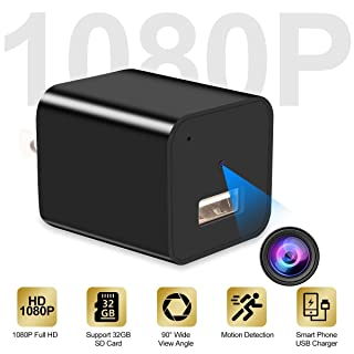 Hidden Camera, 1080P HD USB Charger Camera, Mini Camera, Nanny Camera,Security for Home Office Hotel - No WiFi Needed - 2019 Version