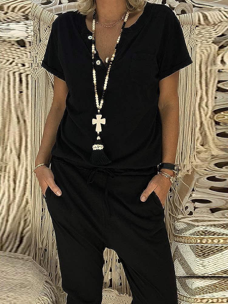 Minetom Donna Salopette Estate Casual Moda V Scollo Manica Corta Pantaloni Regolabile Cintura con Tasche Romper Solido Colore