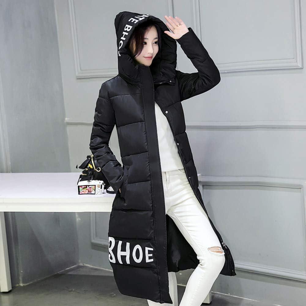 DYH&CTS Doudounes Veste d'hiver Femme Parka en Coton d'hiver Veste Plus Size Longue Parkas à Capuche Casual Manteau Femmes Outwear Noir