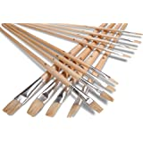Artist Paint Brush Set (12 Pc. Flat Tip) for Acrylic, Oil or Watercolor- Assorted Sizes