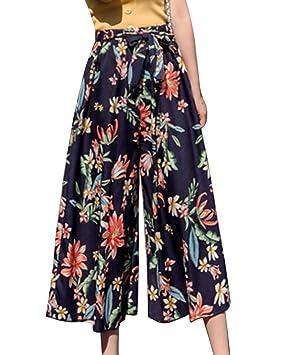 2ea69ca14 Guiran Pantalones Mujer Floral Impreso Gasa Pantalones Palazzo ...