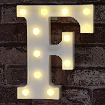 LED Marquee Letter Lights Sign, Light Up Alphabet Letter for Home Party Wedding Decoration F