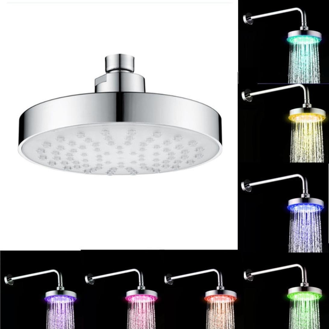 KingWo Bathroom Filtration Shower Head Bath Sprayer High-density filters RGB 7 Colorful LED Light Water Saving Filtered Sprinkler by KingWo