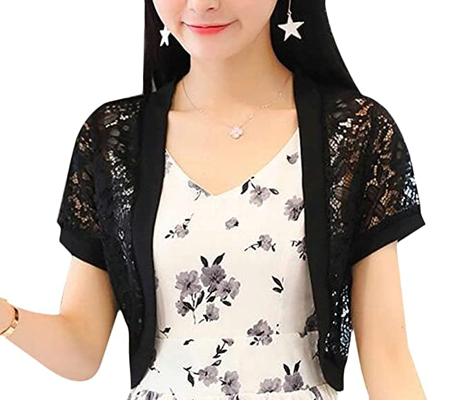 Bolero Mujer Outerwear Elegantes Moda Pin-Up Encaje Patrón De Flores Cardigan Color Sólido Manga Corta Cóctel Corto Abrigos Outerwear Disfraz: Amazon.es: ...