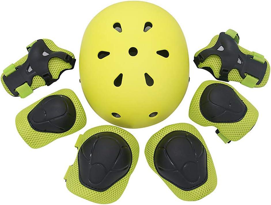 Protecci/ón Infantil 7 en 1 con Casco Almohadillas para Rodillas para ni/ños Almohadillas para Codo Palm Skates Skateboard Scooter Protection Set,Amarillo