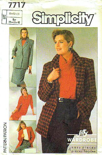Simplicity 7717 Sewing Pattern for Unlined Double Breasted Long Jacket Skirt and Pants with Waistbands and Concealed Pocket Openings, Top Has Detachable Cowl Collar
