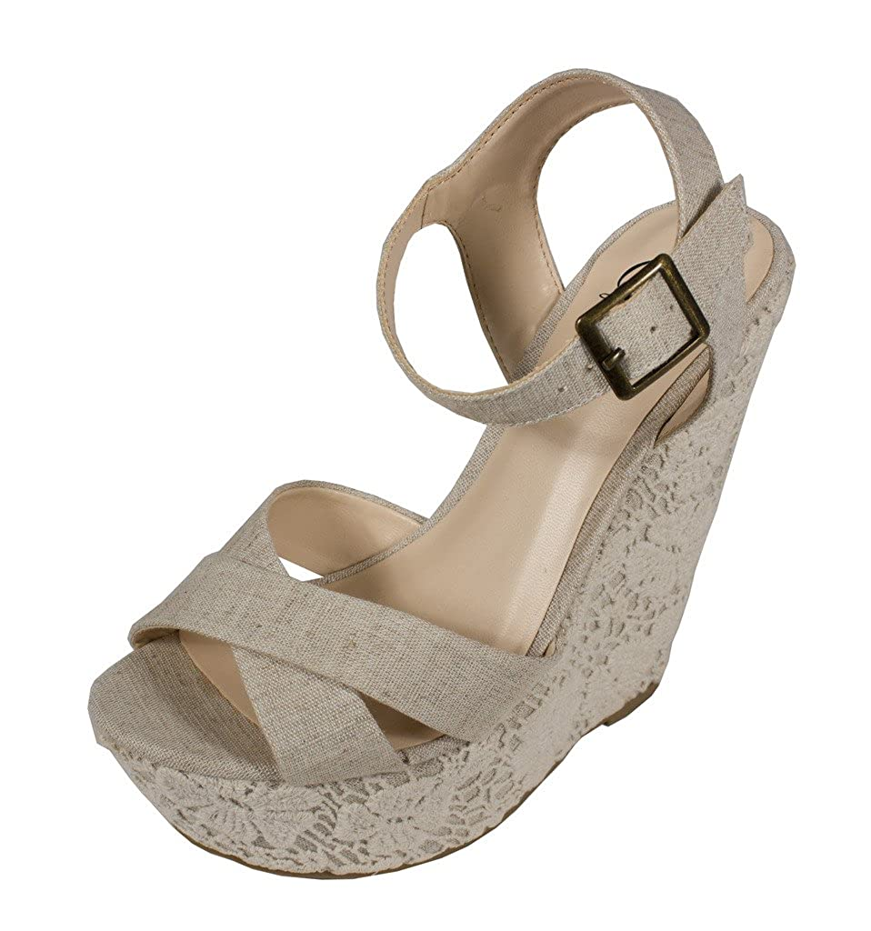 Delicious Women's Sword Peep Toe Strappy Platform Wedge with Flower Embroidery in Beige Linen B00X0E70C4 8.5 B(M) US