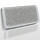 HOT! Crystal and Rhinestone Encrusted Double Sided Wallet w/Snap Closure by Jersey Bling (white), Bags Central