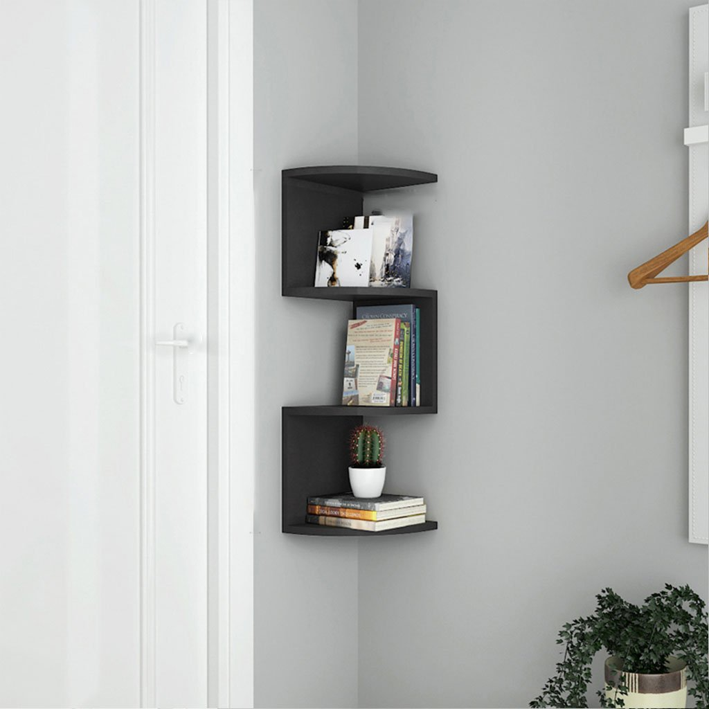 LTJTVFXQ-shelf Corner Bookshelf Shelf Racks Storage Rack Wall-mounted Shelf Wall Corner Bracket Triangle Wall Partition Corner Rack Black Wood Grain (Size : 79cm)