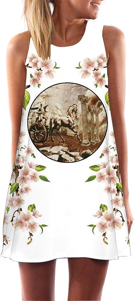 KYLEON Women Dresses Plus Size Boho Print Sleveless Dress Casual Beach Vintage Mini Dress Tank T-Shirt Swing Sundress