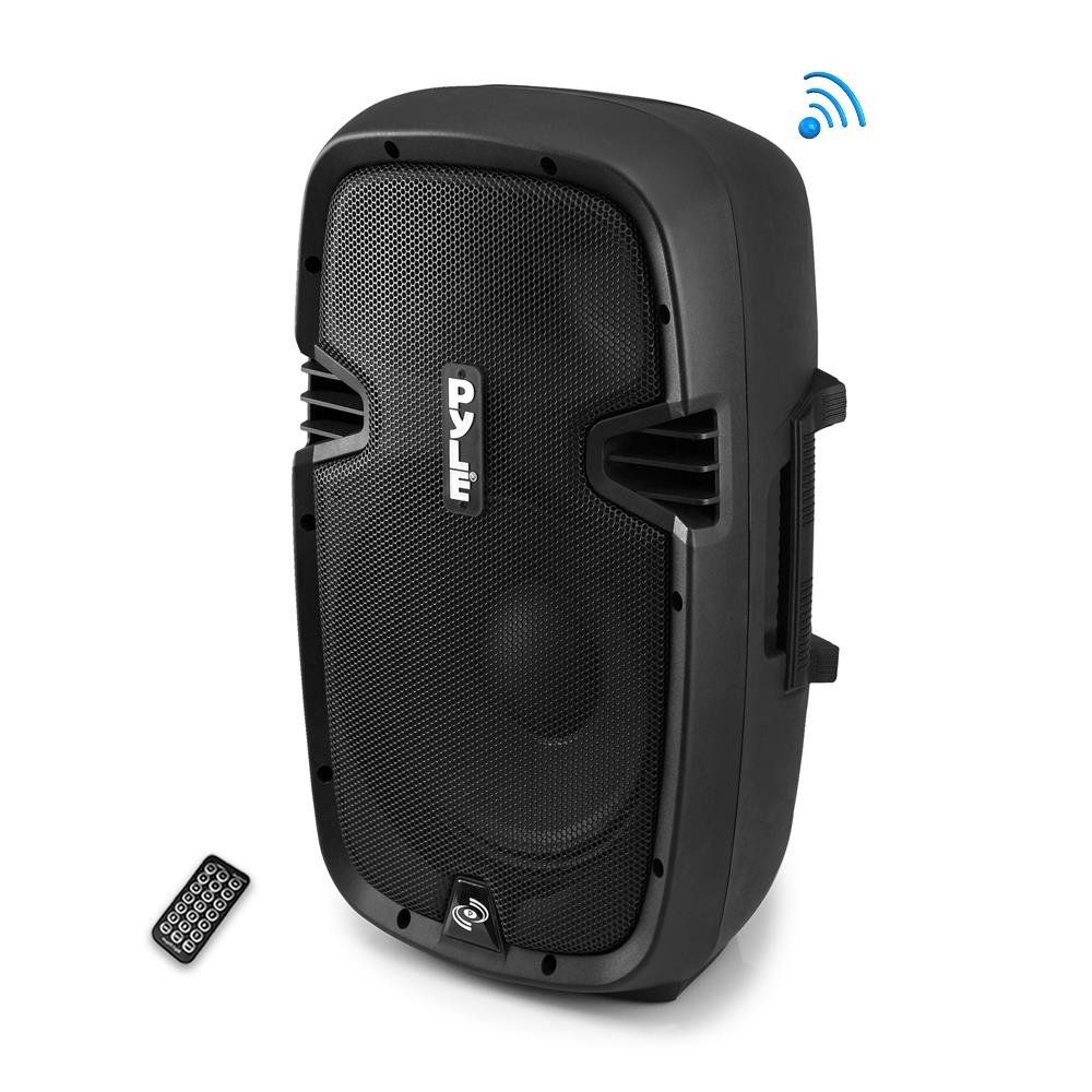 Pyle PPHP837UB  Powered Active PA System Loudspeaker Bluetooth with Microphone - 8 Inch Bass Subwoofer Stage Speaker Monitor Built in USB for MP3 Amplifier - DJ Party Portable Sound Equipment Stereo Amp Sub for Concert Audio or Band Music