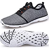 TIANYUQI Women's Mesh Slip On Water Shoes,Gray 2,41EU/10.5US