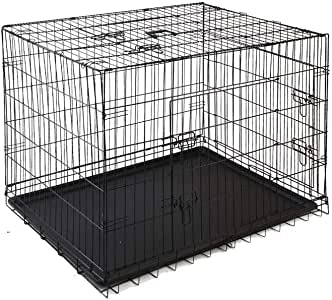 "42"" Dog Cage Pet Crate Puppy Cat Foldable Metal Kennel House Portable 3 Doors XL"
