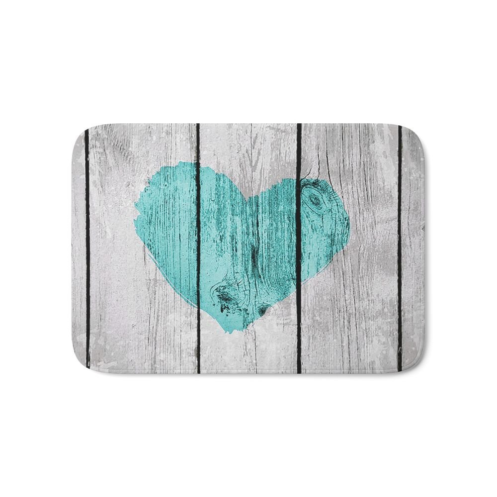 Society6 Teal Rustic Heart On Country Wood Bath Mat 17'' x 24''