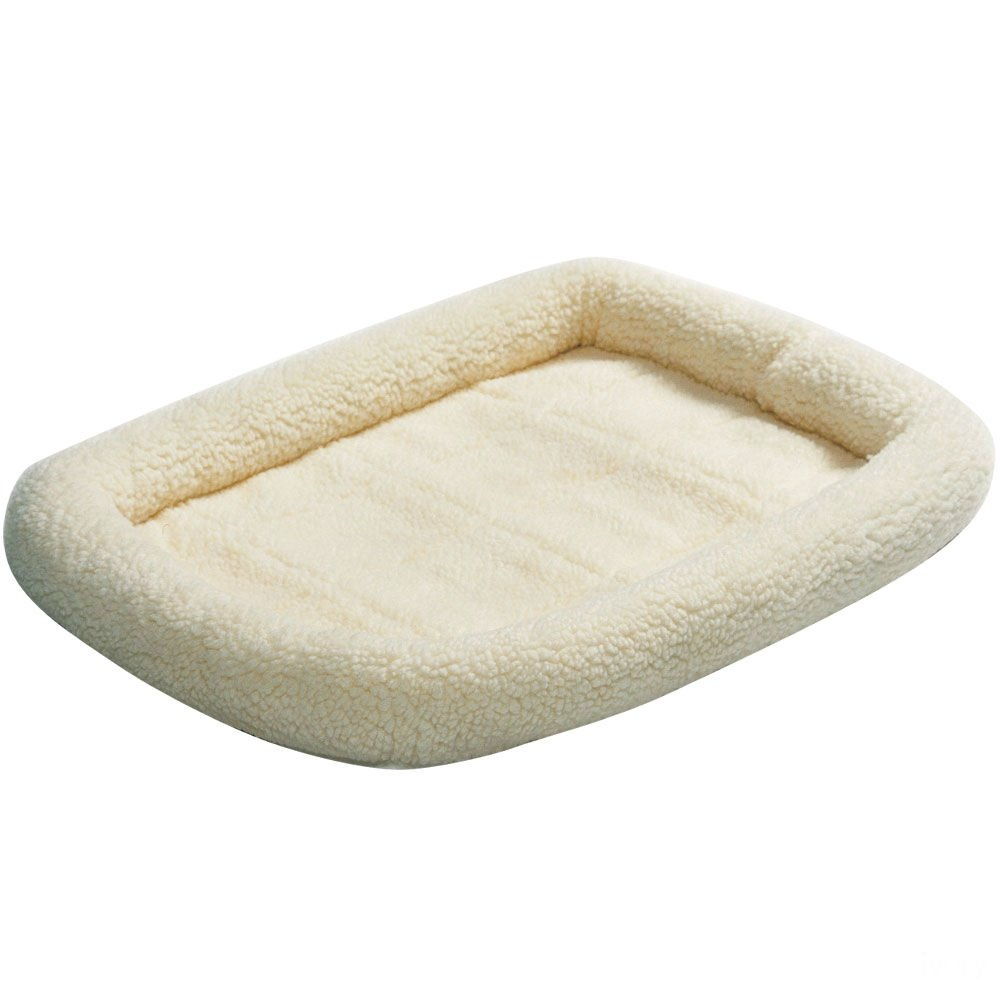 MidWest Deluxe Bolster Pet Bed for Dogs & Cats White Fleece