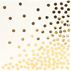 Andaz Press Gold Polka Dot Foil Beverage Napkins, 5-inch, in Bulk 100-Pack, Paper Napkin Gold Confetti for Cocktail Hour, Wedding Bar, Ladies Luncheon, Kids Birthday Party, Bridal Shower Party