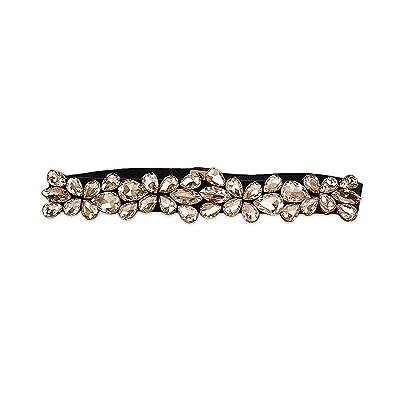 La ceinture élastique de strass de Ya Jin femmes extensible mince Cinch taille mince avec fermeture à pression