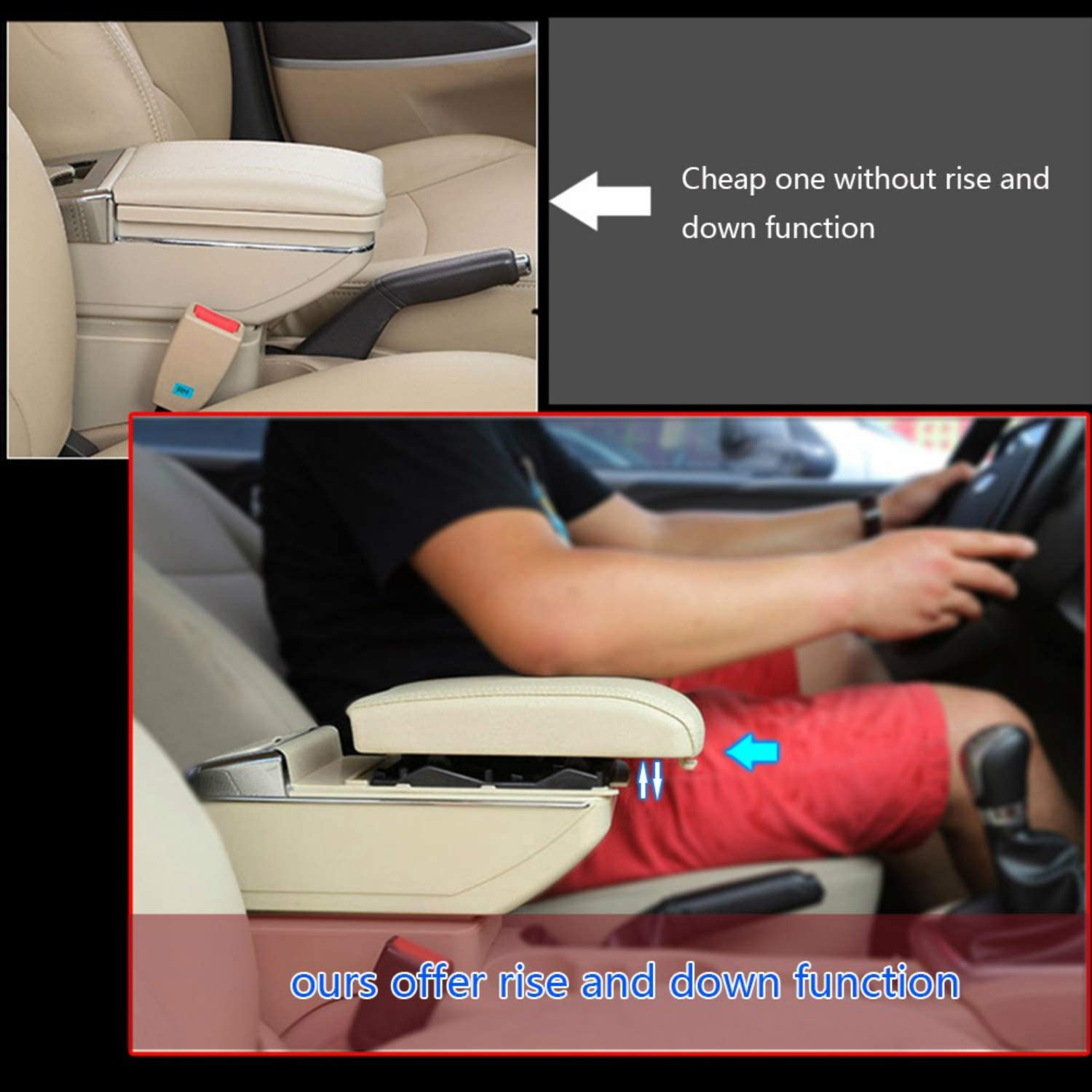 For 2008-2014 S koda Fabia Luxury Car Armrest Center Console Accessories Arm Rest Built-in LED Light black