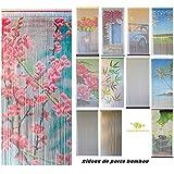 Rideau de porte Perles Bambou, Intérieur et Extérieur, Porte d'entrée, porte intérieure, porte fenêtre 90x200cm, plusieurs modèles aux choix de MadeInNature® (Modèle 4 Rideau Fleuri)