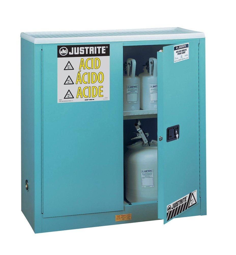 Justrite 893002 18 Gauge Steel Corrosive Storage Cabinet with Sure-Grip Door Handle, Steel, Standard Floor Model, 2 Doors, Manual Door, 30 gal Capacity, 43'' Width x 44'' Height x 18'' Depth