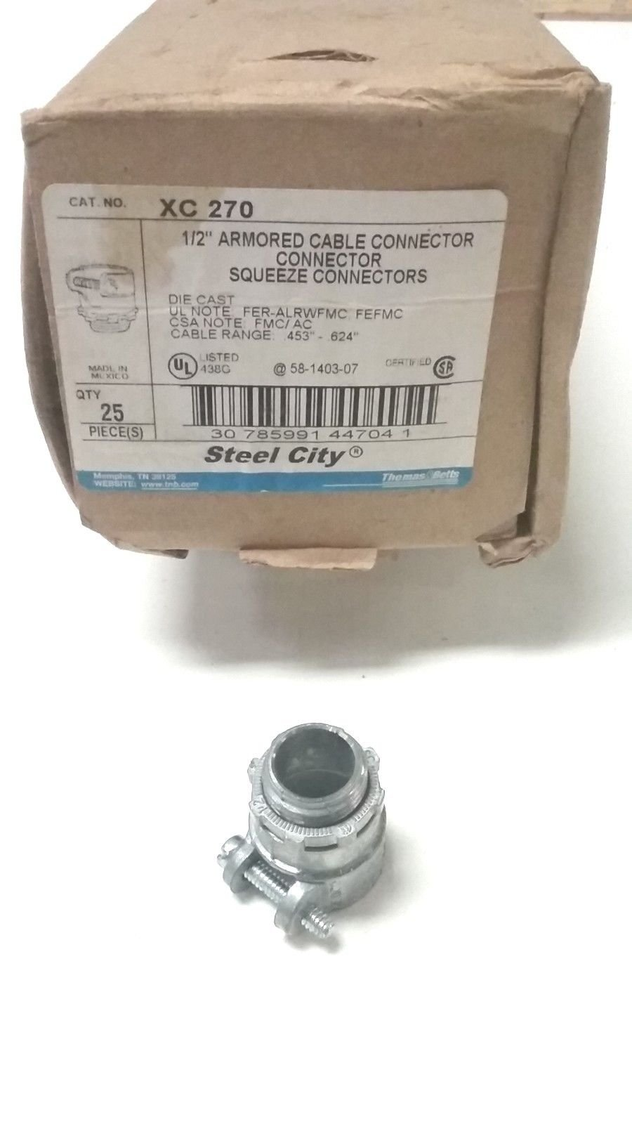25 PC. Steel City XC 270 1/2'' Armored Cable Connector Squeeze Connectors - USA