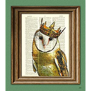 The Barn Owl King With Crown Art Print Beautifully Upcycled Vintage Dictionary Page Book Art Print