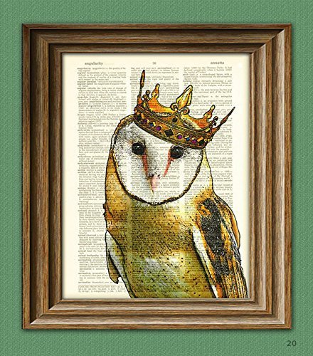 The Barn Owl King With Crown Art Print Beautifully Upcycled Vintage Dictionary Page Book Art Print 3