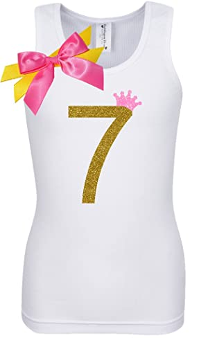 Bubblegum Divas Big Girls 7th Birthday Pink Gold Princess Shirt 7-8