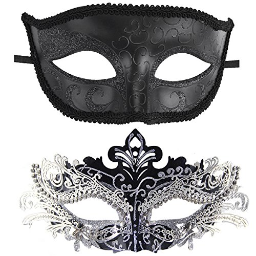 Coxeer Couple Masquerade Masks, Gorgeous Venetian Mask Metal Masks Halloween Costume Mask Mardi Gras Mask (Black)
