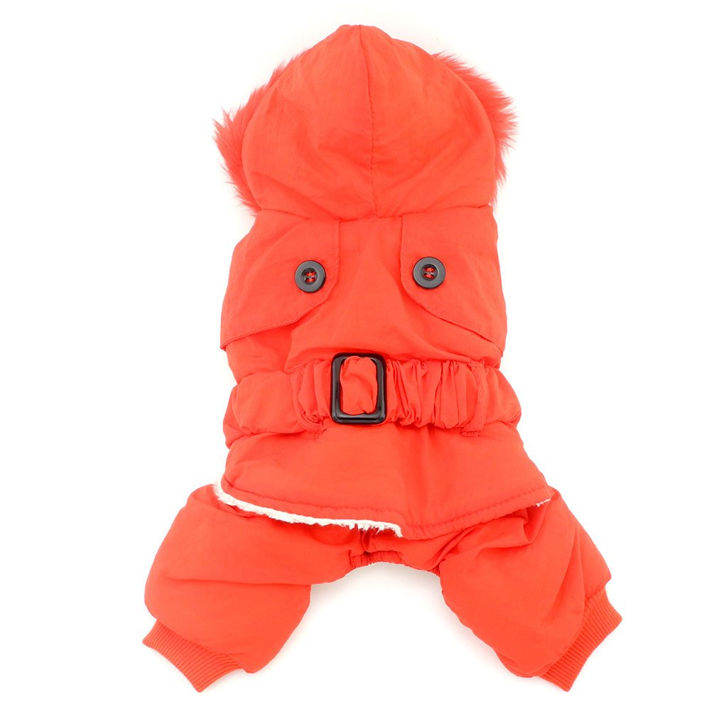 smalllee_lucky_store Winter Jumpsuit Hoodies Coat Fleece Lined Pet Clothing, Medium, Red