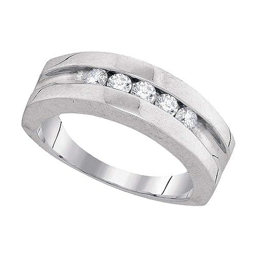 Anillo de boda redondo de oro blanco de 10 quilates para hombre con diamantes de 1
