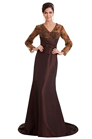 fa1db5fb50086   Wonderfulドレス 高貴的なレース ビーズ 長袖超ロングドレス 茶色 トレイン