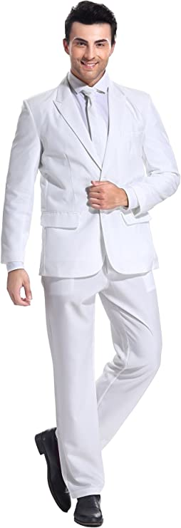 1970s Men's Suits History | Sport Coats & Tuxedos U LOOK UGLY TODAY Mens Party Suit Solid Color Prom Suit for Themed Party Events Clubbing Jacket with Tie Pants $42.99 AT vintagedancer.com