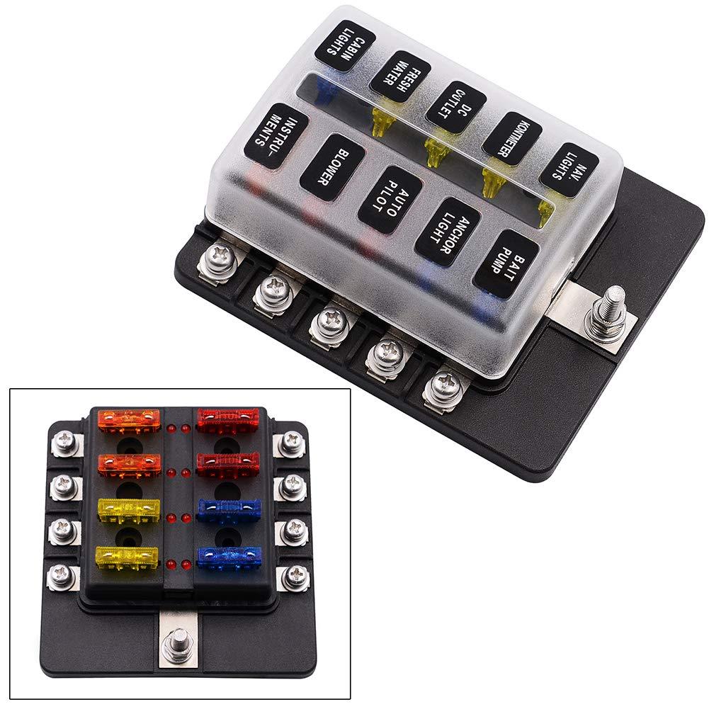 Dandeliondeme Fuse Box Holder, 6/8/10/12-Way Blade Fuse Box Block Holder LED Indicator for 12V 24V Car, RV, Caravan, Yacht, Boat, 1#