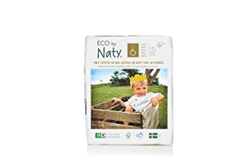 Eco By Naty Premium Disposable Diapers for Sensitive Skin, Size 6, 102 Count,
