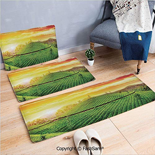 FashSam 3 Piece Flannel Bath Carpet Non Slip View of Fields in The Sunset Country Style Nature Asian Organic Tea Hills Valley Front Door Mats Rugs for Home(W15.7xL23.6 by W19.6xL31.5 by W35.4xL62.9)