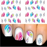 STZ Multicolour Feather Nail Sticker