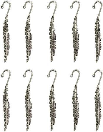 POFET 10 segnalibri in argento tibetano con piume con passante per fai da te