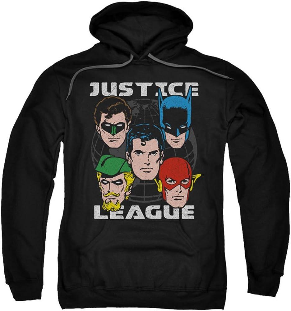 Justice League Hero Heads Faces Licensed Adult Sweatshirt Hoodie
